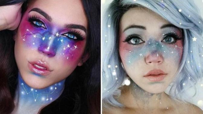Evrenin Müthiş Renklerinden İlham Alınarak Ortaya Çıkan Yeni Makyaj Trendi: Galaksi Makyajı!