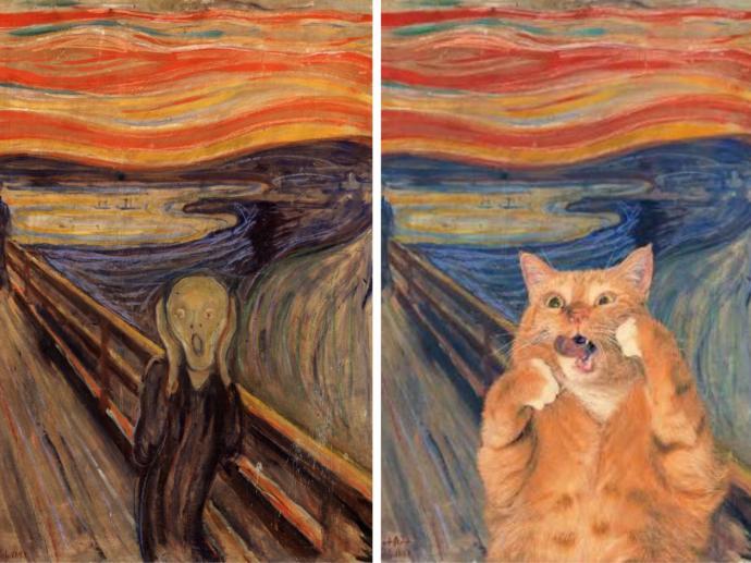Sanata Kedi Karışmış, Ortaya Muhteşem Eserler Çıkmış: İşte Dünyalarca Ünlü Tabloların Birbirinden Tatlı Kedili Halleri!
