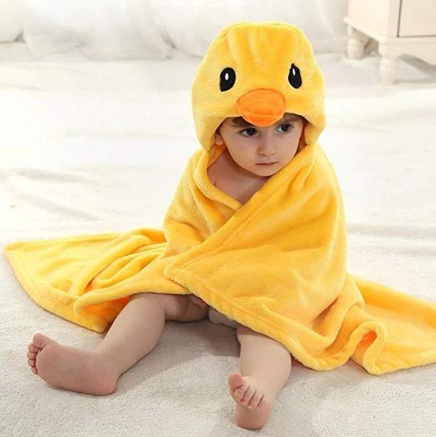 Dingang bebek küçük çocuk kids şapkalı banyo havlusu