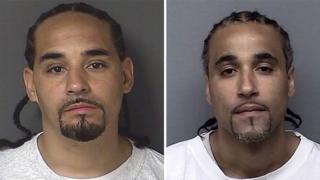 Richard Anthony Jones (sağda) Ricky Amos (solda) adlı zanlıya benzerliği nedeniyle 17 yıl boyunca hapis yattı. Fotoğraf: Kansas Emniyet Müdürlüğü