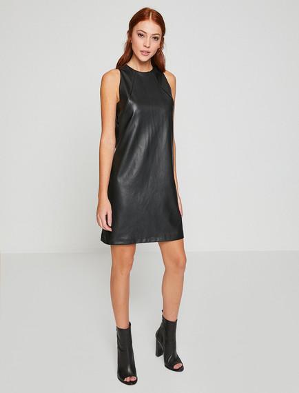 Koton Siyah Deri Görünümlü Elbise