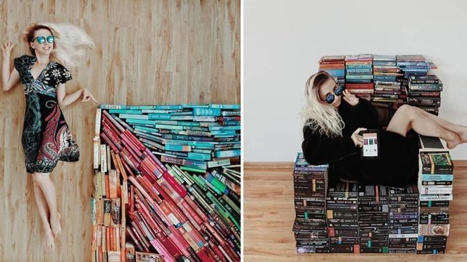 """Okuduğu Kitaplarla """"Beni Buraya Bırakın, Burada Yaşarım"""" Diyeceğiniz Sanat Eserleri Ortaya Çıkaran Kitap Kurdu!"""