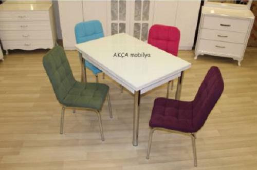 Mutfak masası beyaz cam renkli 4 kapitone kumaş sandalye takımı