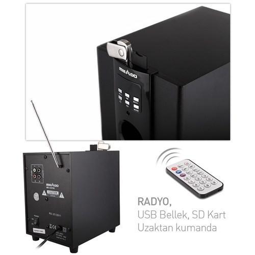 Mikado MD-325FM 2+1 Usb+SD+Fm Bluetooth Destekli Dijital Göstergeli Ses Sistemi