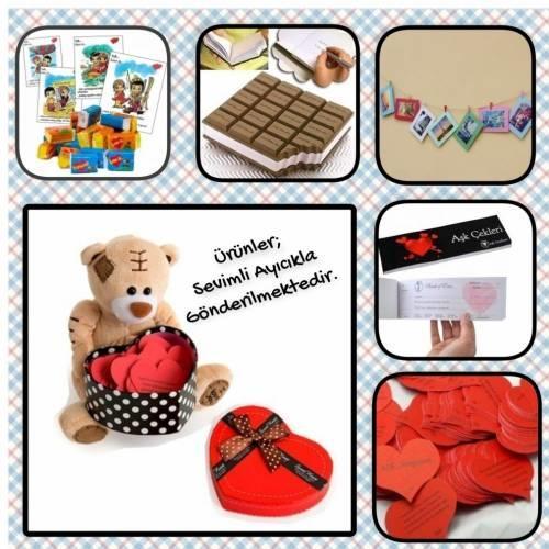 Sevimli ürünlerle dolu bir kutu hediye