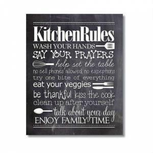 4. Kitchen Rules Pano - Mutfak Duvar Panosu - Mutfak Kuralları Tablosu