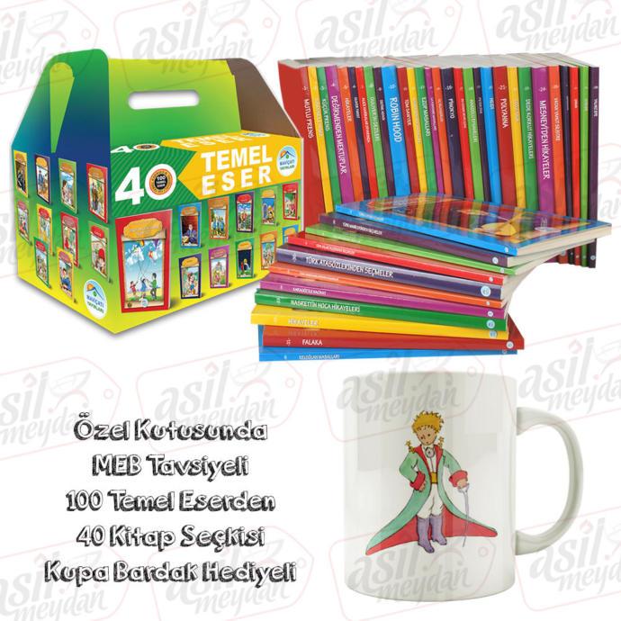 Düz Yazılı Çocuk Klasikleri 40 Kitap Set - MEB 100 Temel Eser - 4.5.6.7.Sınıfları için- Kupa Hediye