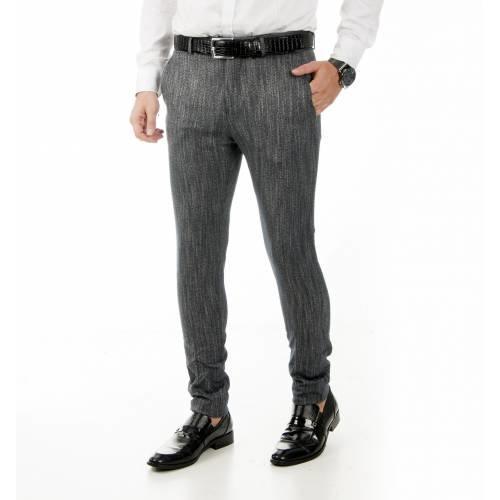 Balık Sırtı Desenli İtalyan Kesim Likralı Erkek Pantolon