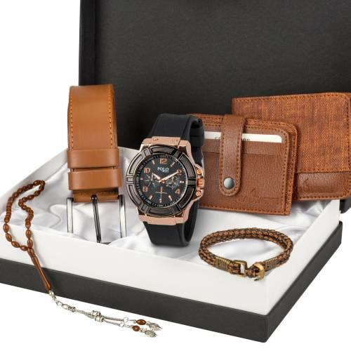 Polo Rucci Saat, Kemer, Cüzdan, Kartlık, Bileklik ve Tespih Kombin Seti