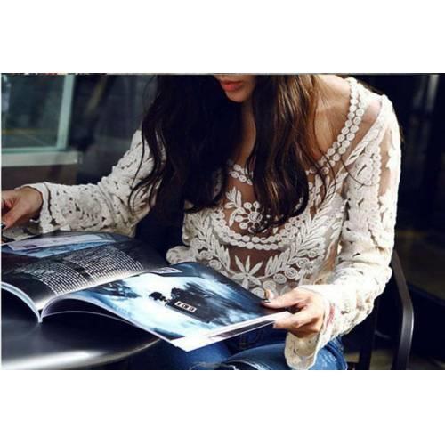 Beyaz Japon Stili Dantel ve Tül Detaylı Bluz