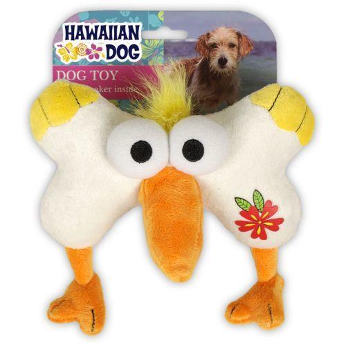 Hawaiian Dog Bone Face Pelican- Kemik ve Pelikan Pembe Peluş Ses Çıkaran Köpek Oyuncağı