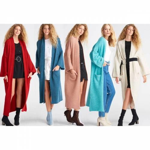 Renkli Uzun Hırka Triko Ceket