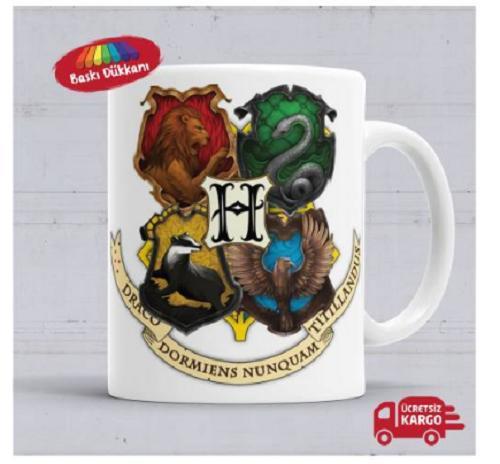 Harry Potter Hogwarts Logo Gryffindor Slytherin Ravenclaw Hufflepuff Baskılı Porselen Kupa Bardak