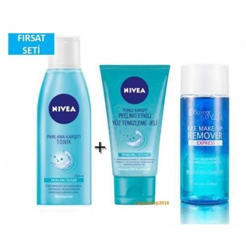 Nivea Peeling Etkili Yüz Temizleme Jeli + Tonik + Flormar Göz Makyaj Temizleme 125 ml