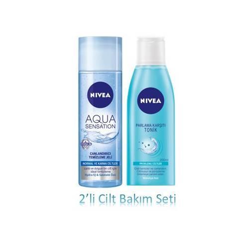 Nivea Aqua Sensation Yüz Yıkama Jeli 200 ml + Parlama Karşıtı Tonik 200 ml