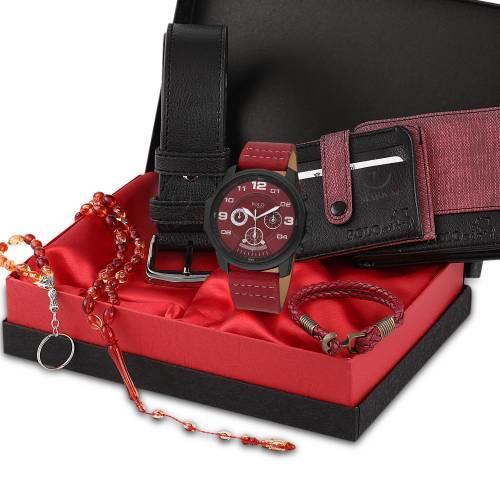 Polo Rucci Erkek Kol Saati Seti Kemer,Cüzdan,Kredi Kartlık,Anahtarlık,Bileklik,Tesbih,Kombini şıklığımıza şıklık katacak!
