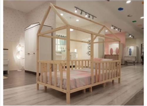 Montessori Doğal Çam Ahşap Yatak
