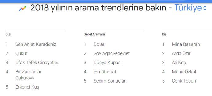 Türkiye Arama Trendleri