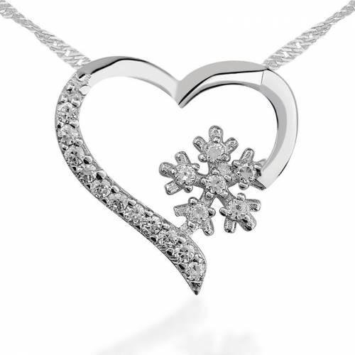 Kalp Kar Tanesi Gümüş Kolye