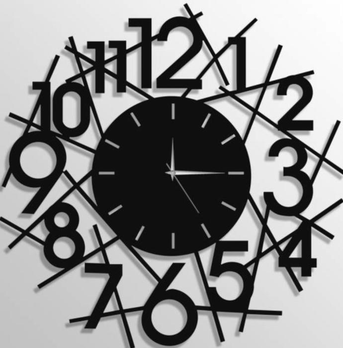 Ahşap Duvar Saati Modern Çizgiler