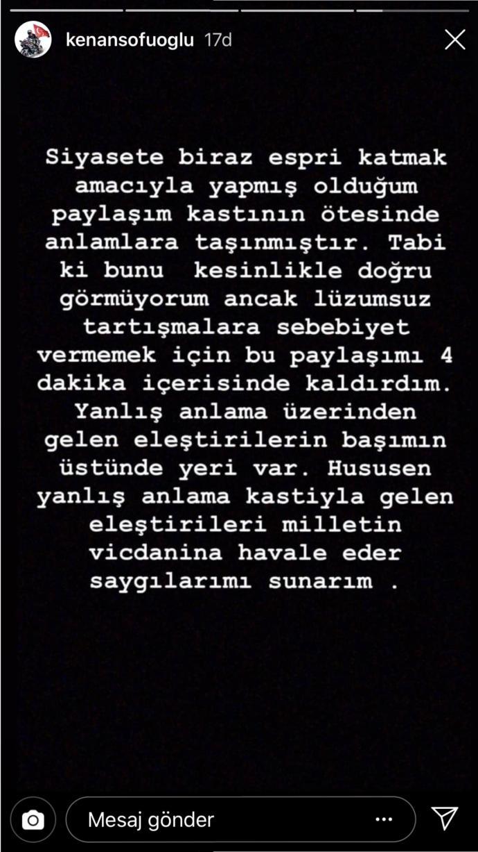 Kenan Sofuoğlu'nun Gelen Tepkiler Üzerine Yaptığı Açıklama