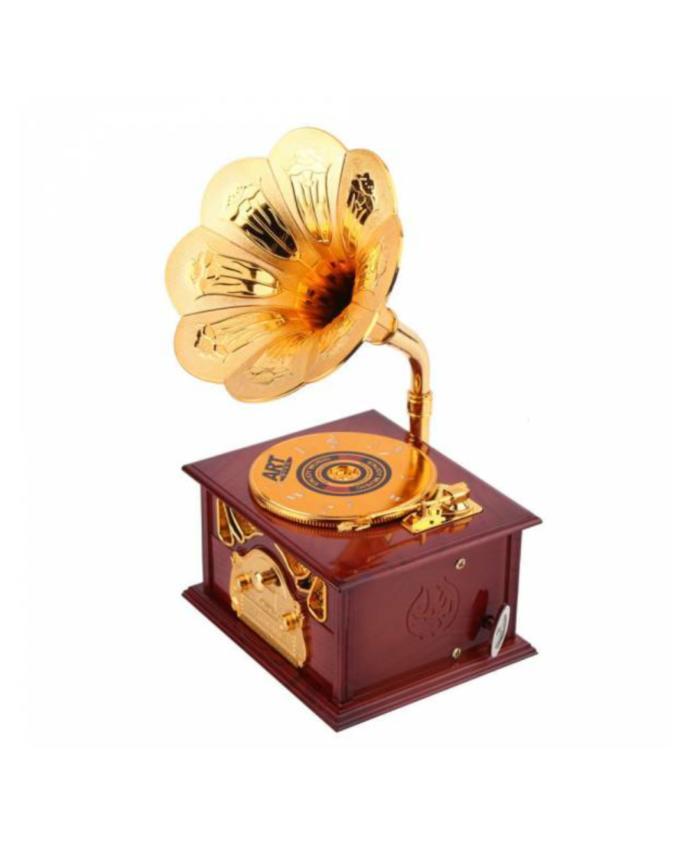 Ahşap Nostaljik Gramofon Şeklinde Müzik Kutusu