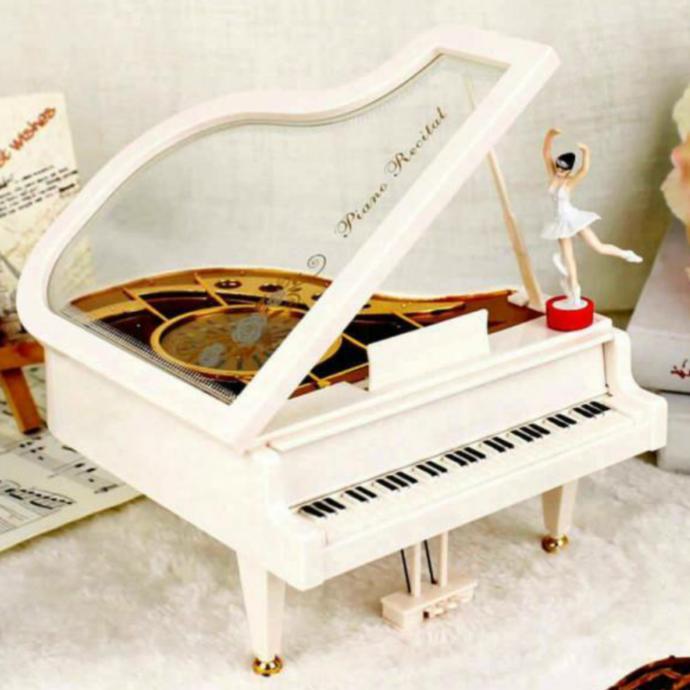 Nostaljik Müzik Kutusu Piyano Tasarımlı Balerinli Şık Tasarımlı Müzik Kutusu