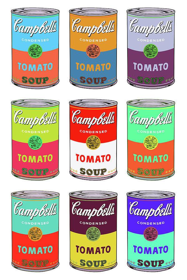 Andy Warhol'un ilk reklam çalışmalarından olan 'Campbells' Soup'un renkli versiyonu