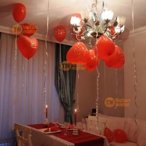 50 Adet Seni Seviyorum Yazılı Kalpli Baskılı Kalp Balon Kırmızı