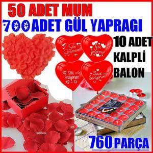 50 Adet Mum, 700 Adet Gül Yaprağı, 10 Adet Kalpli Balon