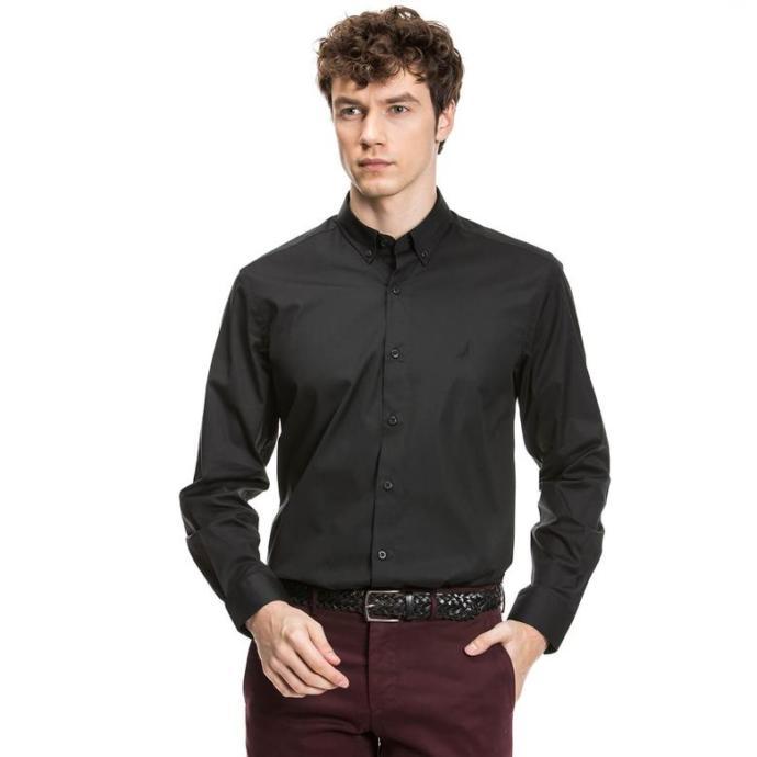 Nautica uzun kollu siyah slim fit gömlek