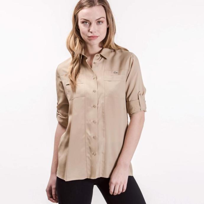Lacoste Kadın Kahverengi Uzun Kollu Gömlek