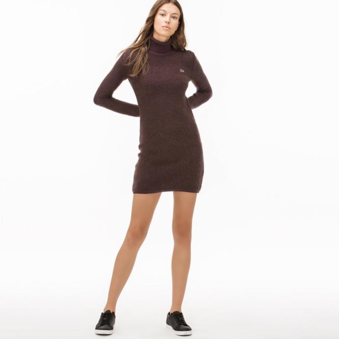 Bordo boğazlı elbise
