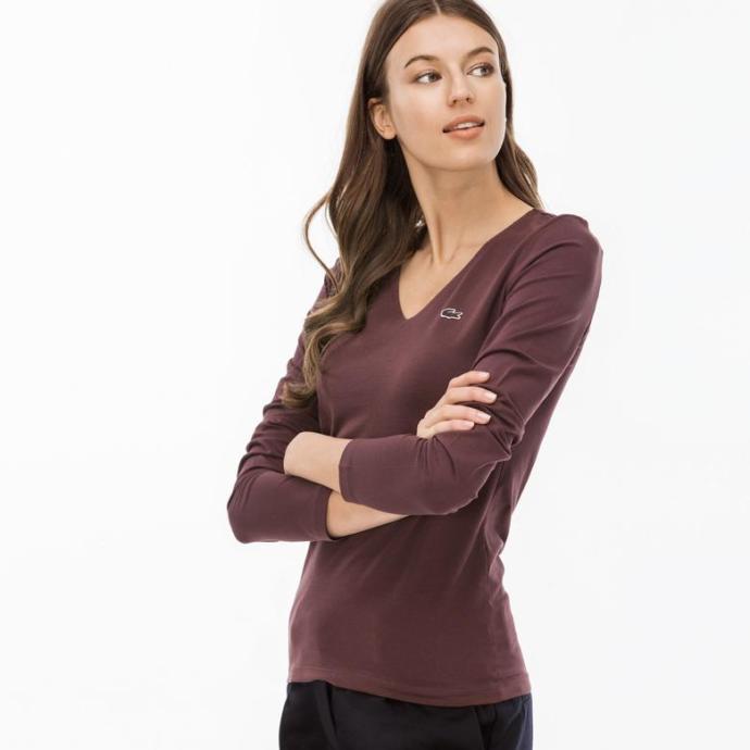 Üşüyenler için uzun kollu bordo tişört
