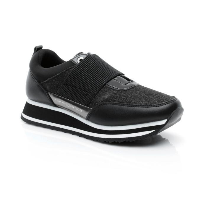 Tommy Hilfiger Elastic Retro Runner Kadın Siyah Sneaker