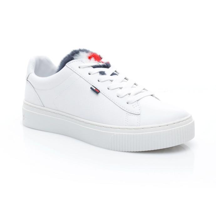 Tommy Hilfiger Funny Fur Star Kadın Beyaz Sneaker