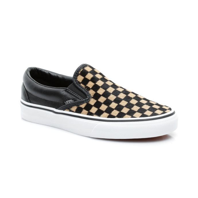 Vans Classic Slip-On Damalı Siyah Kahverengi Kadın Sneaker