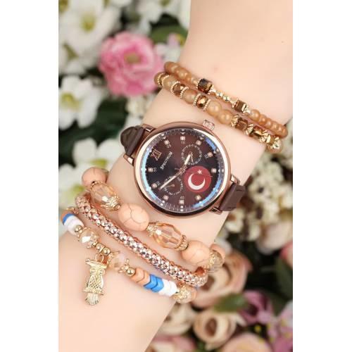 Kahverengi Deri Kordonlu Bayan Saat Kombini Şık Tasarım Takı Aksesuar
