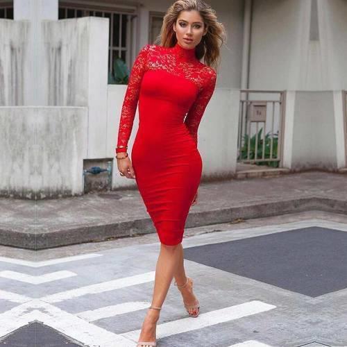 Dantel Detaylı Kırmızı Abiye Elbise