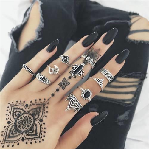 Vintage Yüzük Seti Gümüş Renk Otantik Siyah Taşlı