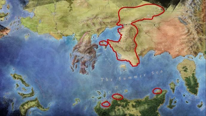 Haritada kırmızı ile işaretlenmiş bölge Ghiscari imparatorluğu ve kolonileridir. Hemen Batı'da Valyria yarımadası göze batar.