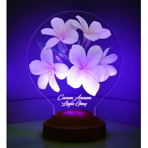 3D Boyutlu Plumeria Çiçekli Kişiye Özel Led Lambası