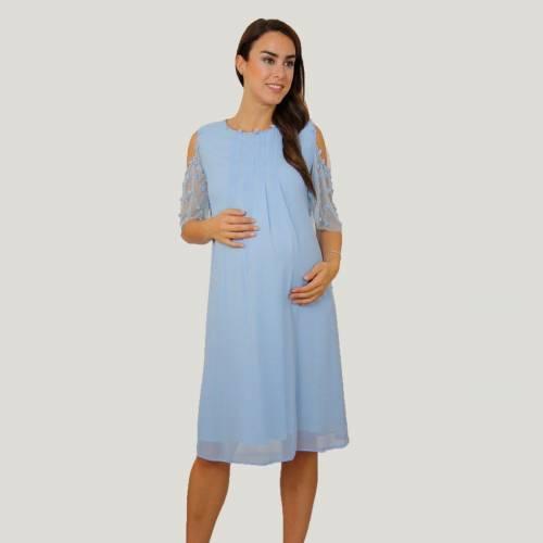 Açık Mavi Şifon Elbise