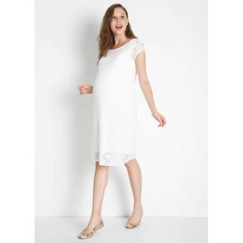 Düz Beyaz Dantelli Elbise
