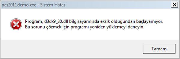 Bu tür hata yazılım yükledikten sonra o yazılımı çalıştırmayı istediğinizde görülebilir.