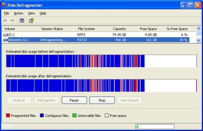 Windows XP'de disk birleştirme. Kırmızı alanlar parçalanmış veriyi simgeler.