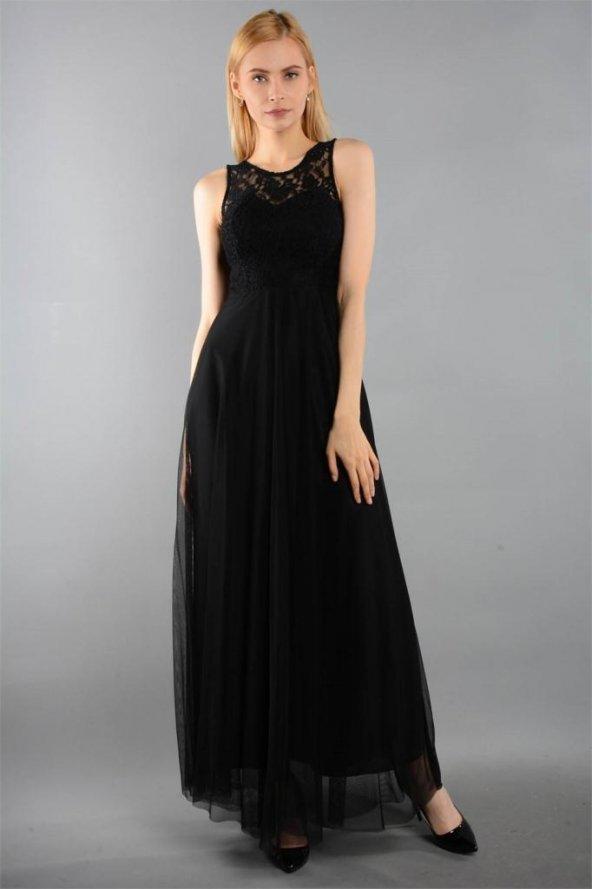 Dantel Askılı Uzun Siyah Elbise