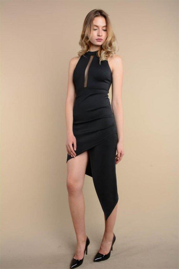 Asimetrik Kesim Tül Detaylı Siyah Elbise