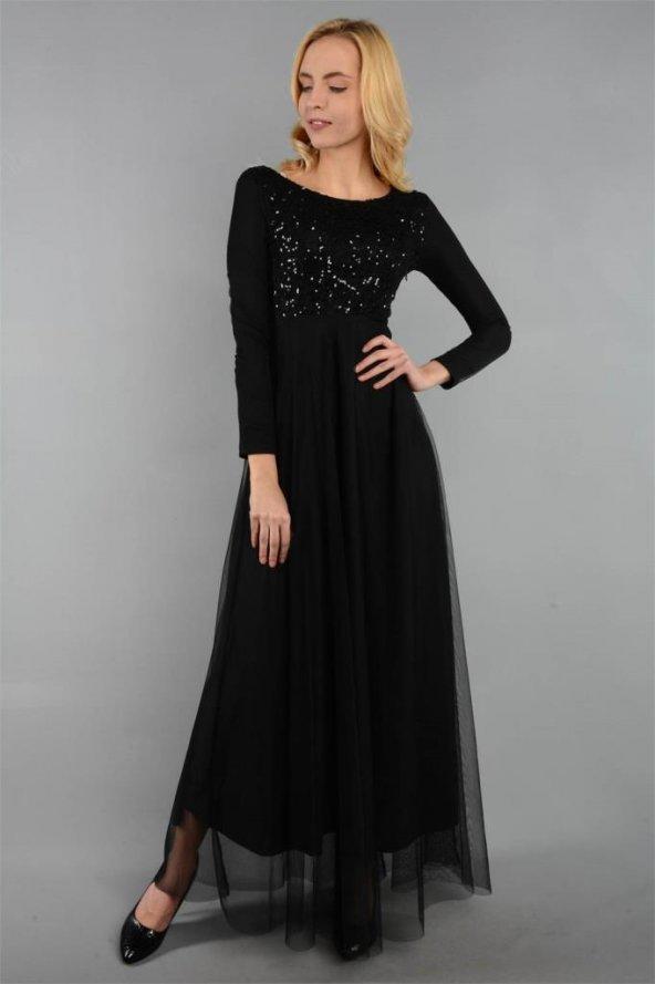 Uzun Kollu Tül ve Dantel Detaylı Siyah Elbise