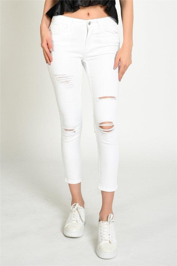 Beyaz Yırtık Model Skinny Kot Pantolon